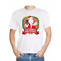 Shoppartners Foute Kerst t-shirt wit can I borrow some presents voor heren