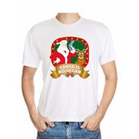 Shoppartners Foute Kerst t-shirt wit Santa is no vegan heren Multi