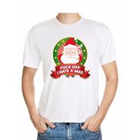 Shoppartners Foute Kerst t-shirt wit Fuck off I hate x-mas heren Multi