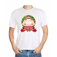 Shoppartners Foute Kerst t-shirt wit Im too sexy for this shirt heren Multi