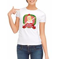 Shoppartners Foute kerst t-shirt wit merry christmas voor dames