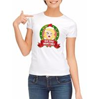 Shoppartners Foute kerst t-shirt wit Do You Want Me voor dames
