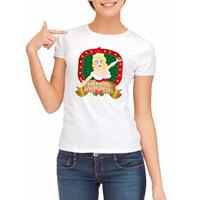 Shoppartners Foute kerst t-shirt wit Touch my jingle bells voor dames