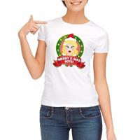Shoppartners Foute kerst t-shirt wit Merry X-mas Boys voor dames