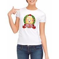 Shoppartners Foute kerst t-shirt wit Are You Naked Yet voor dames