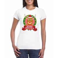 Shoppartners Rudolf Kerst t-shirt wit Merry Christmas voor dames