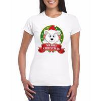 Shoppartners IJsbeer Kerst t-shirt wit Merry Christmas voor dames