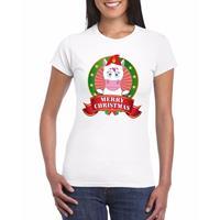 Shoppartners Eenhoorn Kerst t-shirt wit Merry Christmas voor dames