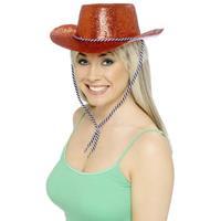 Smiffys Glitter cowboyhoed rood