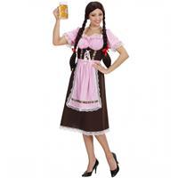 Bellatio Oktoberfest - Bruine lange Tiroler jurk dames Multi