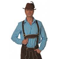 Bellatio Oktoberfest - Blauw/witte Tiroler blouse lange mouw Multi