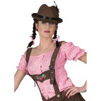 Bellatio Oktoberfest - Roze geruite Tiroler blouse 44-46 (2XL/3XL) Roze