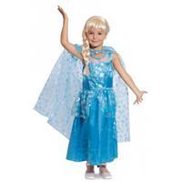 Blauwe prinsessenjurk met cape voor meisjes