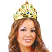 Bellatio Voordelige prinsessen kroon met diverse edelstenen