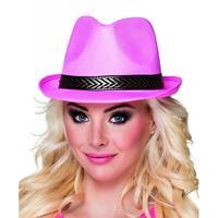 Bellatio Roze trilby hoed voor volwassenen