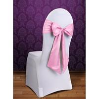 Bruiloft stoel decoratie licht roze strik