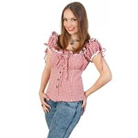 Cowboy blouse met plofmouwtjes dames rood/wit Rood