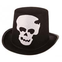 Bellatio Zwarte hoge hoed met schedel