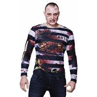 Heren shirt met zombie gevangene opdruk Multi