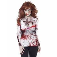Smiffys Dames shirt met bloederige zombie opdruk Multi