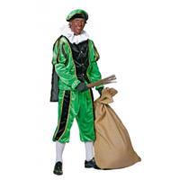 Bellatio Zwart/groene pieten kostuum fluweel Multi