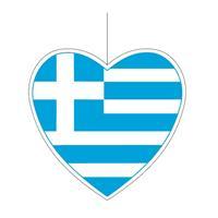Bellatio Decoratie hart Griekenland 14 cm