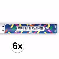 Bellatio 6x Confetti kanon metallic kleuren mix cm