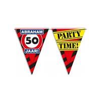 Bellatio Abraham 50 jaar vlaggenlijn waarschuwingsbord 10mtr