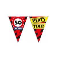 Bellatio 50 jaar vlaggenlijn waarschuwingsbord 10mtr