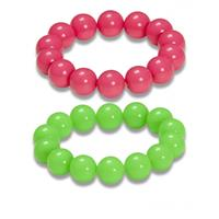 Bellatio Set van neon parel armbanden