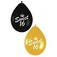 Sweet 16 ballonnen zwart en goud