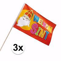 Sinterklaas - 3x Luxe Welkom Sinterklaas zwaaivlaggetje 30 x 45 cm