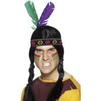 Smiffys Indianen hoofdband met veren Multi