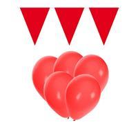 Fun & Feest party gadgets Rode versiering 15 ballonnen en 2 vlaggenlijnen