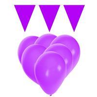 Fun & Feest party gadgets Paarse versiering 15 ballonnen en 2 vlaggenlijnen