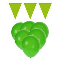 Fun & Feest party gadgets Groene versiering 15 ballonnen en 2 vlaggenlijnen