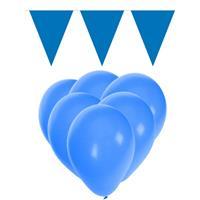 Fun & Feest party gadgets Blauwe versiering 15 ballonnen en 2 vlaggenlijnen