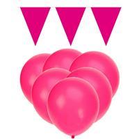 Fun & Feest party gadgets Knal roze versiering 15 ballonnen en 2 vlaggenlijnen