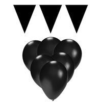 Fun & Feest party gadgets Zwarte versiering 15 ballonnen en 2 vlaggenlijnen