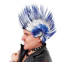 Bellatio Punker hanenkam pruik blauw en wit