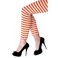 Dorus legging rood geel wit gestreept (S/M)