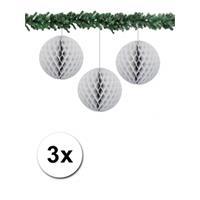 Bellatio 3x decoratie bal grijs 10 cm