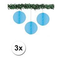 Bellatio 3x decoratie bal lichtblauw 10 cm