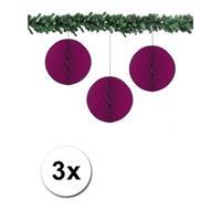 Bellatio 3x decoratie bal aubergine 10 cm