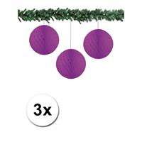 Bellatio 3x decoratie bal paars 10 cm