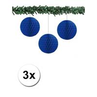 Bellatio 3x decoratie bal blauw 10 cm