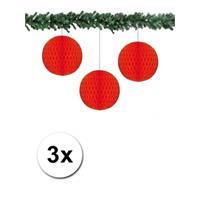Bellatio 3x decoratie bal rood 10 cm