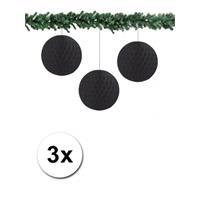 Bellatio 3x decoratie bal zwart 10 cm