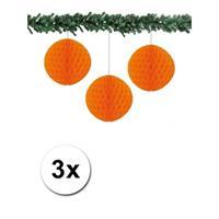 Bellatio 3x decoratie bal oranje 10 cm