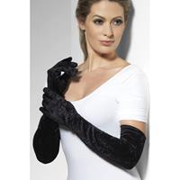 Smiffys Zwarte lange handschoenen fluweel